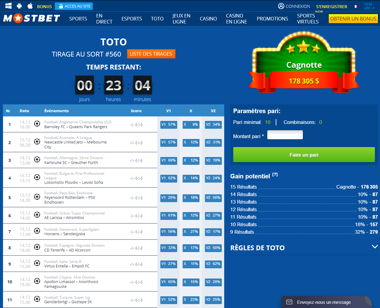 Mostbet Toto Betting
